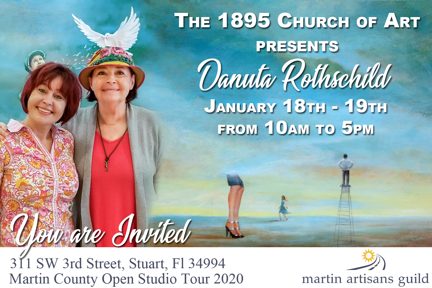 Danuta Rothschild Art Show at the 1895 Church of Art - MCLM Media Pro Social Media Marketing in Stuart, Florida